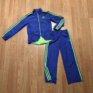 Girls size 6 Adidas track suit Purple/Neon Green